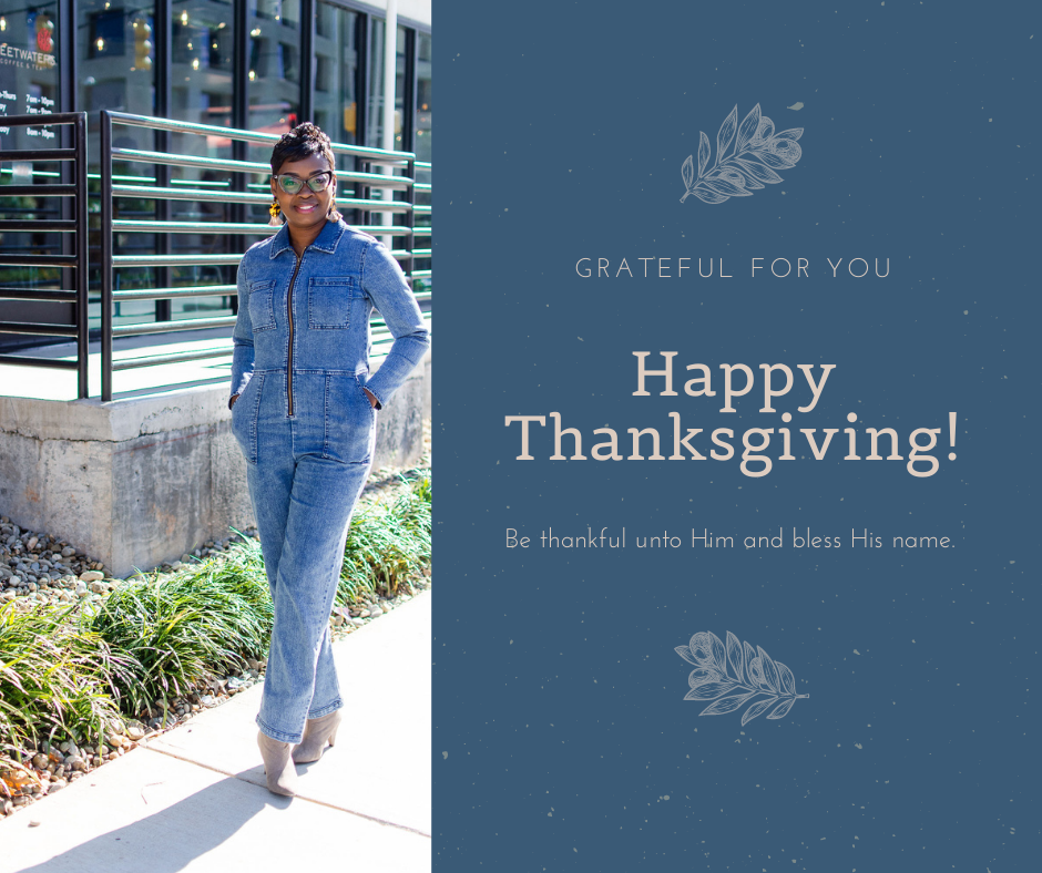 Chaunte McClure's happy Thanksgiving greeting.